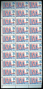 US #C81var 21¢ USA & Jet Airmail, Block of 30 w/misregistered engraved Plane