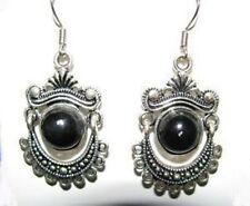 Ethnic Tibetan Silver Black Onyx Dangle Earrings
