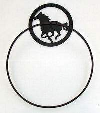 "Western Equestrian Bathroom Decor Horse 12"" Towel Ring Cast Iron/Wrought Iron"