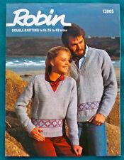 "Fab His & Hers Sweater Fair Isle Hem Vintage 1980s DK Knitting Pattern 26"" - 48"""