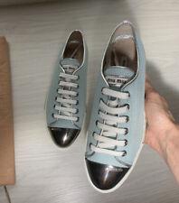 Miu Miu Women's Blue Canvas Trainers Shoes Sneakers Sz 37 RRP £450 Brand NEW