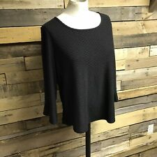 Elle Medium 3/4 Sleeve Black Blouse