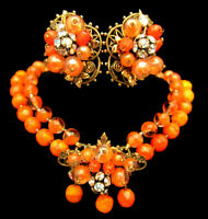Rare Vintage Early Miriam Haskell Orange Glass Necklace & Earrings Set A11