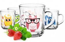 6 Tassen Motiv Eule Becher Geschirr Glas Henkel 250 ml Teegläser Kindergläser
