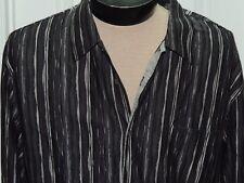 Men's XXL Jhane Barnes Long Sleeve Shirt 100% Cotton Black/ Gray/ Silver SHEER
