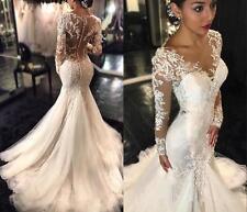 Mode Meerjungfrau Brautkleider Abendkleider Hochzeitskleider Langarm Ballkleider