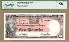 AUSTRALIA: 10 Pounds Banknote,(AU PMG58),P-36,SCARCE,1960,No Reserve!