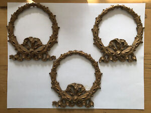 Antique Architectural Gilded Wood Gesso Furniture Applique Garlands Bows 1800's