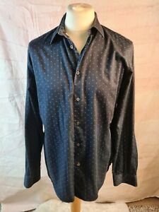 Mens Ted Baker Navy Blue Dotty Cotton Blend Long Sleeve Collared Shirt Size 6