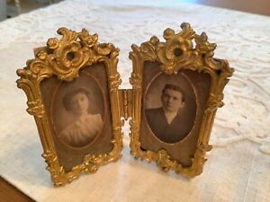 ANTIQUE MINIATURE Brass Double Picture Frame Royal Mfg Co  1800's