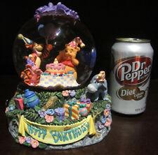 RARE Disney Winnie the Pooh Tigger Piglet Happy Birthday Snowglobe Music Box