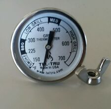 """Tel-Tru BQ100 BBQ Smoker Thermometer 1.75"""" Dial w/ 2.13"""" Stem Grill 700 zones"""