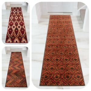 Hallway Carpet Runner Rugs Red Orange Long Entrance Hall Rug Non Shed Easy Clean