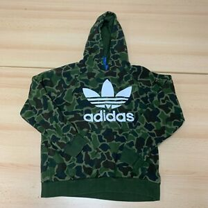 Adidas Hoodie Womens Large Green Camo Hooded Pullover Logo Print