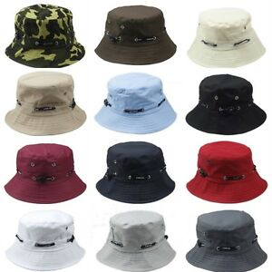 Men Women Plain Solid Bucket Boonie Fisherman Hat Hunting Cap Unisex One Size