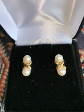 mikimoto vintage double pearl 14 K gold earrings