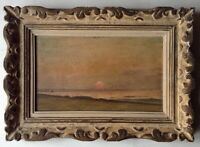 Antique Oil Impressionist Painting Landscape Setting Sun WILLIAM DIDIER POUGET