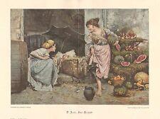 Children, Street Market, Fruit Stand, Vintage 1900 German Antique Art Print