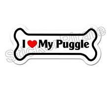 I Love My Puggle Dog Bone Bumper Sticker Decal Db 262