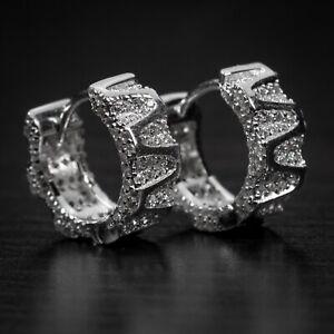 White Gold 925 Sterling Silver Men's Fully Iced Small Huggie Hoop Earrings