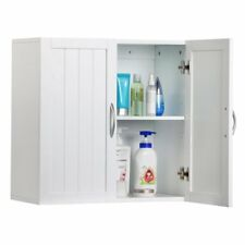 Yaheetech White Wood Bathroom Wall Mount Cabinet Toilet Medicine Storage with