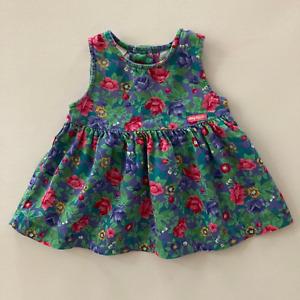 Vintage Oshkosh B'gosh USA Baby Girl 12 Months Floral Jumper Dress Colorful