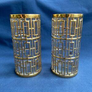 2 Imperial Glass Shoji Trellis 22k Gold Tumbler Glasses Mid Century Modern