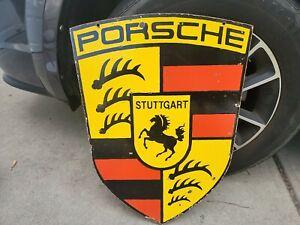 Vintage Porsche Dealership Double Sided Porcelain Sign (Scarce)