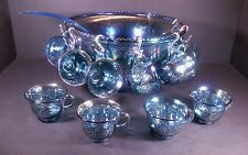 Indiana Glass Iridescent Blue Carnival Harvest Princess Grape Punch Bowl 12 Cups