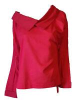 Camicia Blusa Casacca Lunga Elegante Ampia Rosso Scuro Donna LUISELLA MARIANI XL