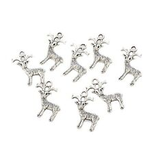 10pcs Deer Reindeer Beads 3D Charms Tibetan Silver Pendant Fit Bracelet 23*13mm