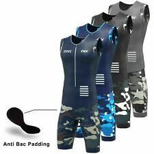 Men Camo Triathlon Tri Suit Padded Breathable Running Swimming Cycling SkinSuit