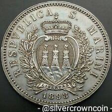 SCC San Marino 5 Lire 1898R. KM#6. Silver Crown Dollar UNC-MS-BU 1 Year Issue