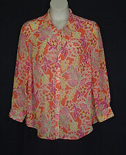 Chaps Pink Orange Button Front Spring Floral Tunic Top Womens Plus Size 2X