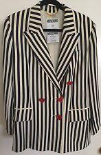 Vtg 80s Moschino IT 42 US 8 Couture Cruise Me Baby Navy Cream Stripe Long Blazer