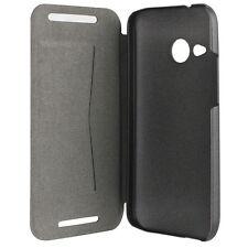 Etui folio à rabat en simili cuir noir pour HTC One-Mini-2