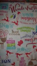 """Christmas Tablecloth 60"""" x 104""""  Wishes and Words ~  Vinyl Flannel Backed"""