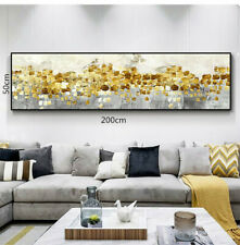 LL129 HUGE gold foil oil painting Dancing stars Hand-painted Unframed 200cm