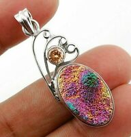 Natural Titanium Druzy 925 Solid Sterling Silver Pendant Jewelry ED3-4