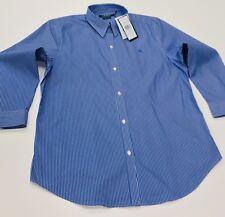 Lauren By Ralph Lauren NON IRON Women's Stripe Blouse Shirt In Blue Size L