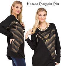 New Ladies Black Embellished Dolman Top Plus Size 14 & 16 (9755)KI