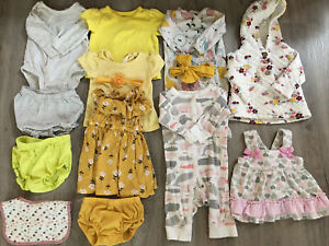 Newborn Girl Clothing Lot, 14 Items, 6 Months, Carter's, Crown & Ivy