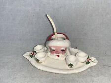 Vintage Miniature Artisan Dollhouse SANTA CLAUS Punch Bowl Tray & Cups, SIGNED