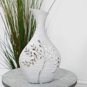Superb Textured Tall Silver Electroplated Tree Ceramic Bottle Vase 35cm