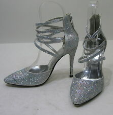 """new Silver 4.5""""Stiletto High Heel Pointy Toe Ankle Strap Sexy Shoes Size 9.5"""