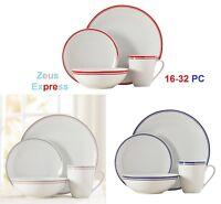 16 -32 Piece Striped Round Dinnerware Set 4 -8 dinner - Salad Plates Bowls Mugs