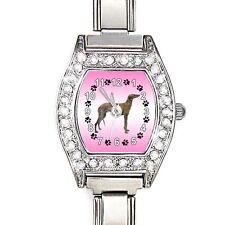 Greyhound Dog CZ Womens Stainless Steel Italian Charms Bracelet Watch BJ1043