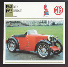 1928-1932 MG M Midget M.G. British Car Photo Spec Sheet CARD 1929 1930 1931