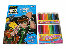 BEN 10 COLOURING & ACTIVITY BOOK PAD & 16 COLOUR PENS & 16 COLOUR PENCILS