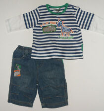Size 0 - Denim Pant and Long Sleeve Navy White Striped Tee Layered Look | Baby